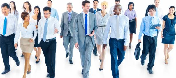Business People Walking Toward Camera